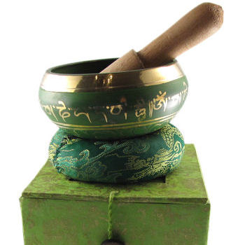 "3"" Green singing bowl w/Box SB-139B"