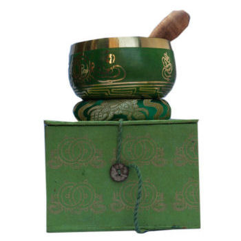 "4"" Green singing bowl w/Box SB-129B"