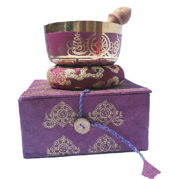 "4"" Purple singing bowl w/Box SB-129D"