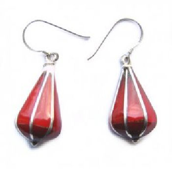 Pyramid Earring Coral Stone PE-1158C