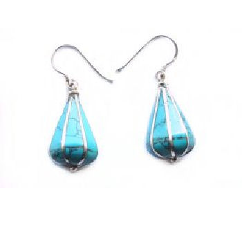 Pyramid Earring Turquoise Stone PE-1158A