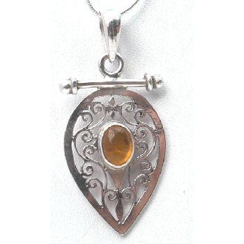 Sterling silver Jali pendent with Amber stone RPP2010A