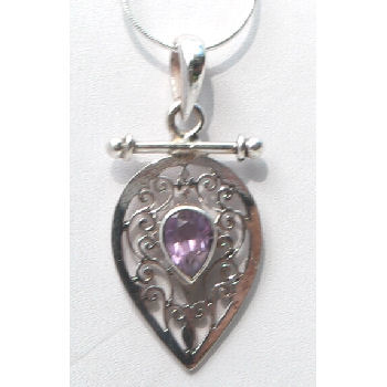 Sterling silver Jali pendent with Amthyst stone RPP2010Y