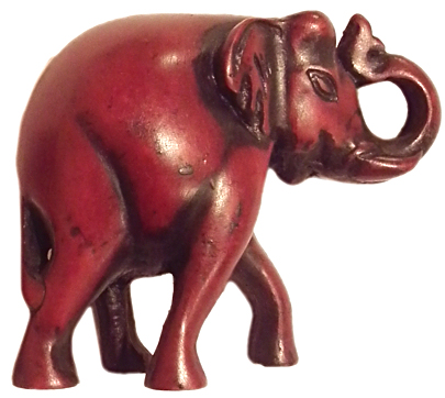 Trunk Up Elephant Red RF-156B