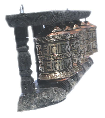5 Metal Prayer wheel with frame W-060