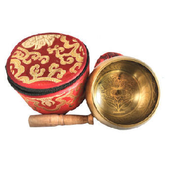 "Lotus Singing bowl set-comes in a silk pouch 4"" SB-720"