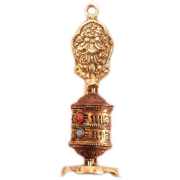 Prayer Wheel Lotus Symbol PW-019E